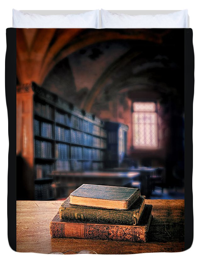 Books Duvet Cover featuring the photograph Vintage Books And Glasses In An Old Library by Jill Battaglia