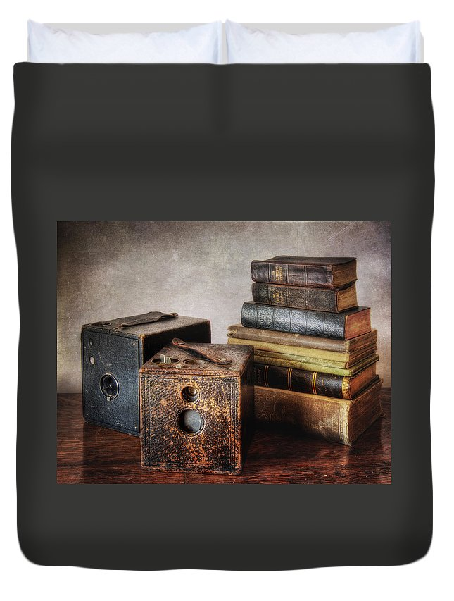 Antique Duvet Cover featuring the photograph Vintage Cameras And Books by David and Carol Kelly