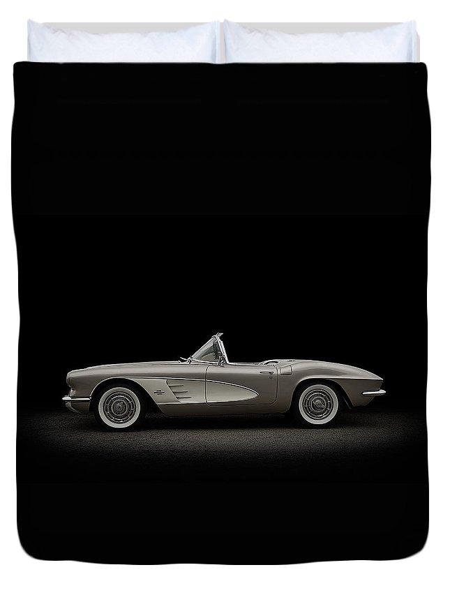Chevrolet Duvet Cover featuring the digital art Vintage Champagne by Douglas Pittman