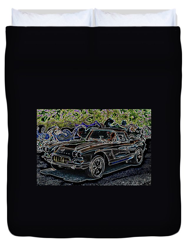 Automotive Art Duvet Cover featuring the digital art Vintage Chevy Corvette Black Neon Automotive Artwork by Lesa Fine
