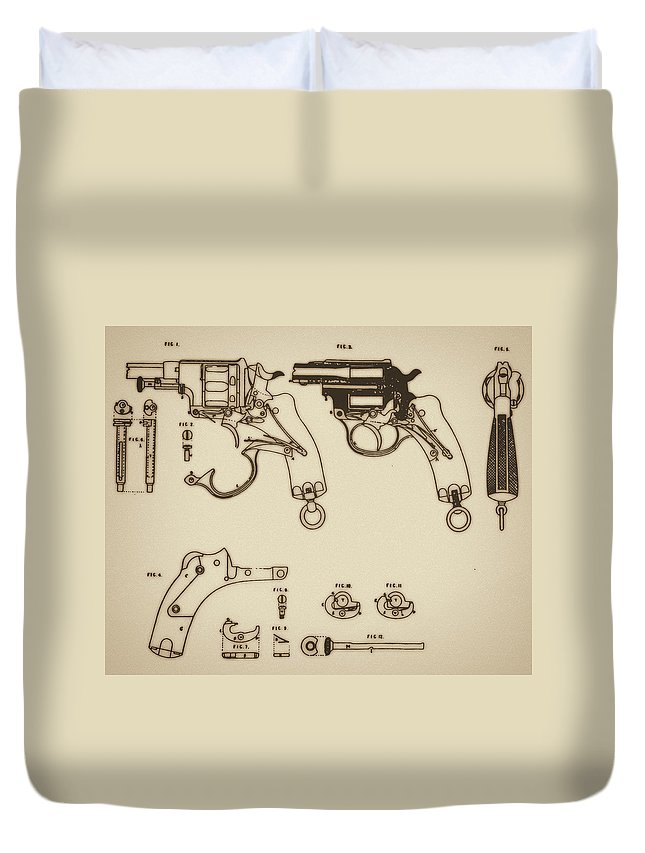 Ammunition Duvet Cover featuring the mixed media Vintage Colt Revolver Drawing by Nenad Cerovic