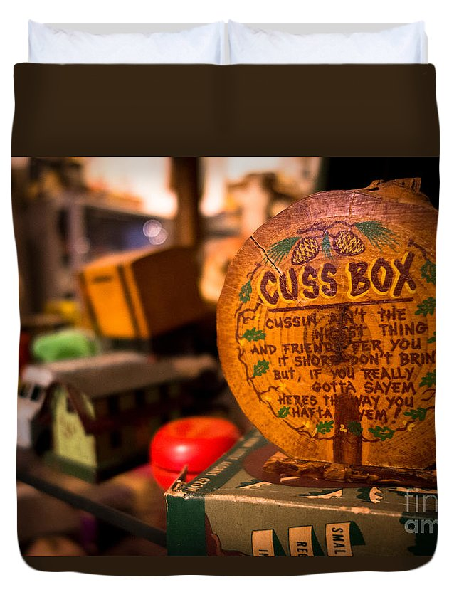 Antique Duvet Cover featuring the photograph Vintage Cuss Box by Amy Cicconi