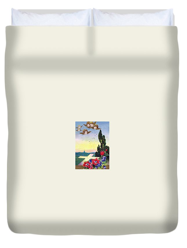 Vintage Duvet Cover featuring the photograph Vintage Easter Card by Munir Alawi