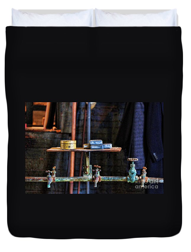 Paul Ward Duvet Cover featuring the photograph Vintage Factory Sink by Paul Ward