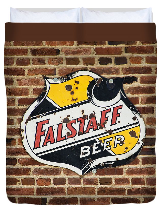 Vintage Duvet Cover featuring the photograph Vintage Falstaff Beer Shield Dsc07192 by Greg Kluempers