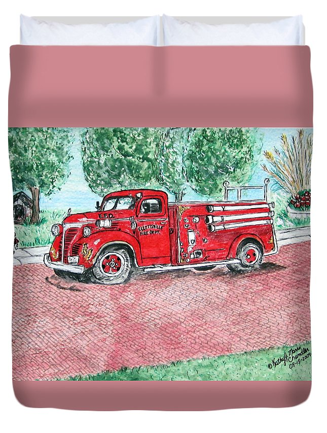 Firetruck Duvet Cover featuring the painting Vintage Firetruck by Kathy Marrs Chandler