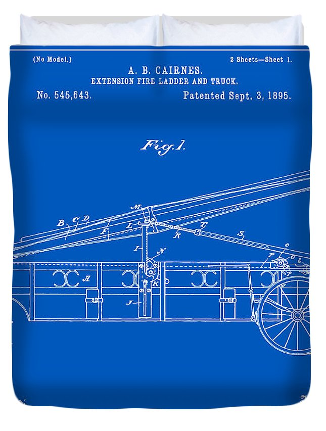 Patent Duvet Cover featuring the digital art Vintage Firetruck Patent - Blueprint by Finlay McNevin