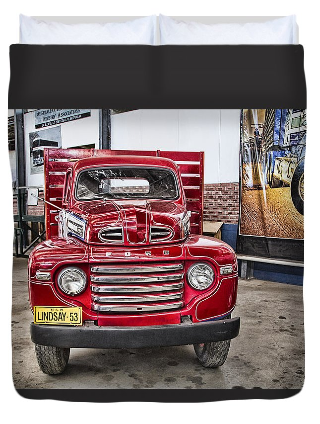 Vintage Ford Truck Duvet Cover featuring the photograph Vintage Ford Truck by Douglas Barnard