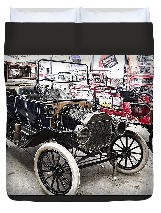 Vintage Duvet Cover featuring the photograph Vintage Ford Vehicle by Douglas Barnard