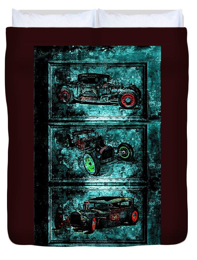 Digital Duvet Cover featuring the digital art Vintage Hotrods by Amanda Struz