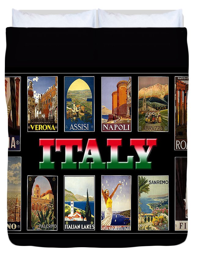 Italy Duvet Cover featuring the photograph Vintage Italy Travel Posters by Andrew Fare