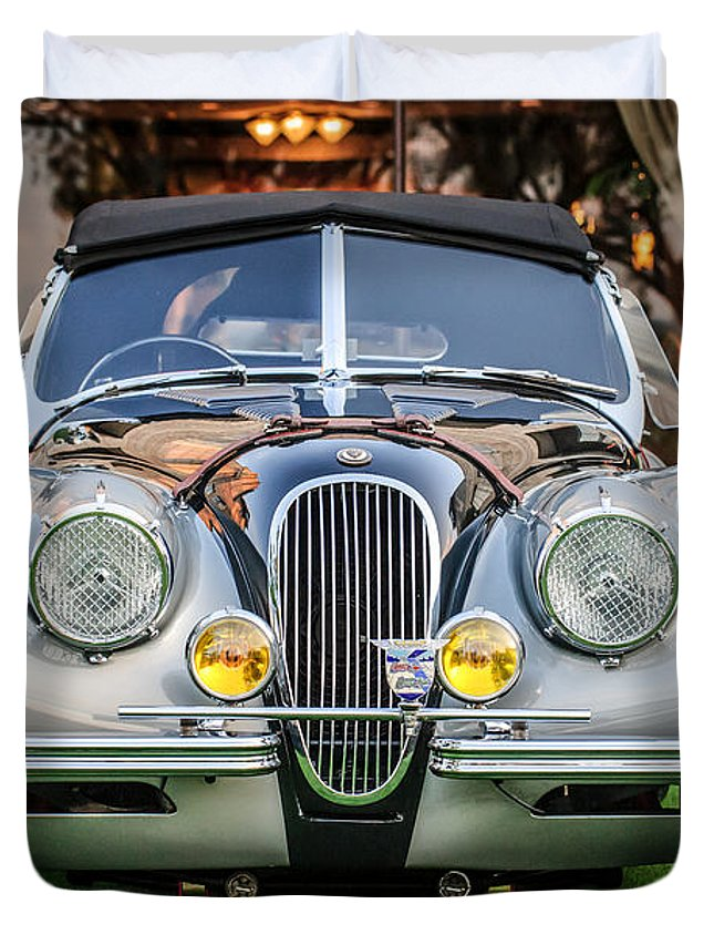 Vintage Jaguar Duvet Cover featuring the photograph Vintage Jaguar -0924c by Jill Reger