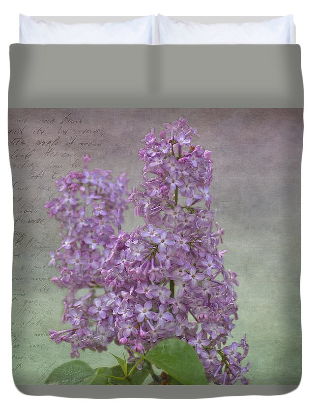 Vintage Lilacs Duvet Cover featuring the photograph Vintage Lilacs by Mel Hensley