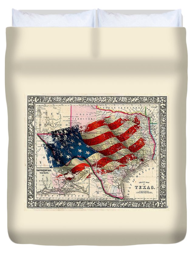 Texas Duvet Cover featuring the photograph Vintage Map Of Texas 2 by Andrew Fare