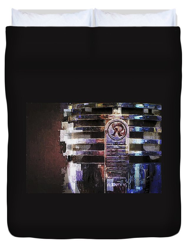 Retro Microphone Closeup Duvet Cover featuring the photograph Vintage Microphone Painted by Scott Norris