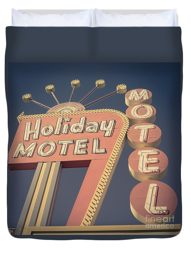 Neon Duvet Cover featuring the photograph Vintage Motel Sign Holiday Motel Square by Edward Fielding