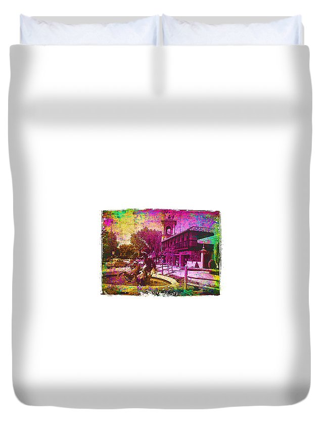 Neptune Duvet Cover featuring the digital art Vintage Neptune Fountain Kansas City by Cassie Peters