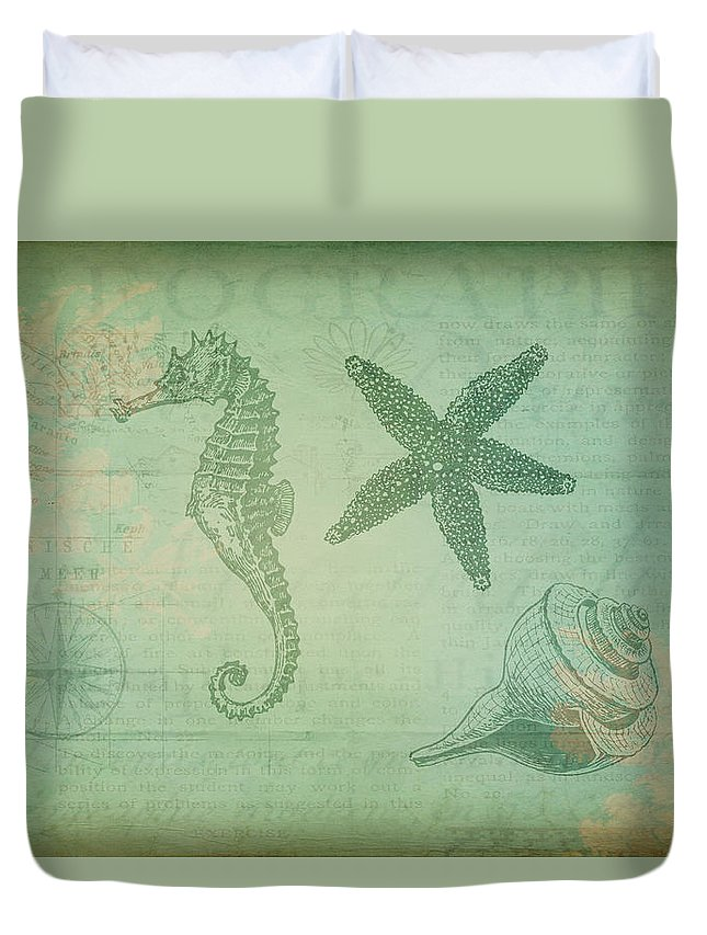 Seahorse Duvet Cover featuring the digital art Vintage Ocean Animals by Peggy Collins