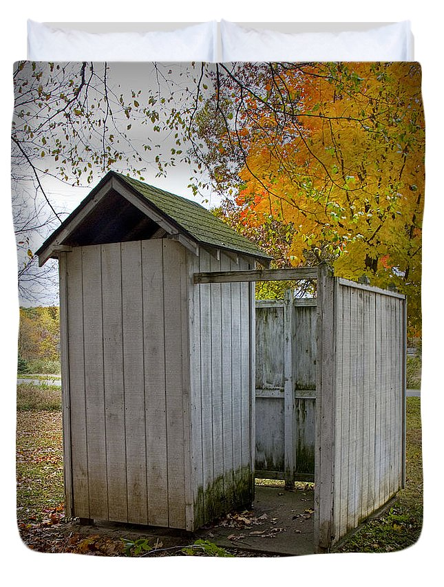 Art Duvet Cover featuring the photograph Vintage Outhouse Alongside A Historical Country School In Southwest Michigan by Randall Nyhof