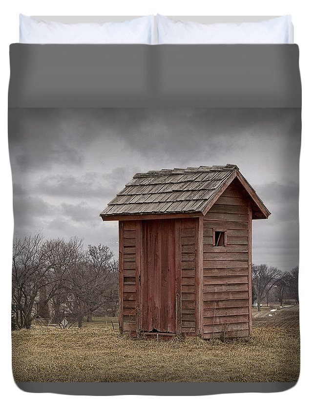 Art Duvet Cover featuring the photograph Vintage Outhouse Behind A Historical Country School In Southwest Michigan by Randall Nyhof