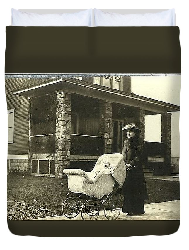 Baby Carriage Prints Duvet Cover featuring the photograph Vintage Photos by R A W M