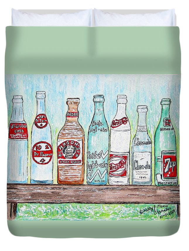 Vintage Duvet Cover featuring the painting Vintage Pop Bottles by Kathy Marrs Chandler