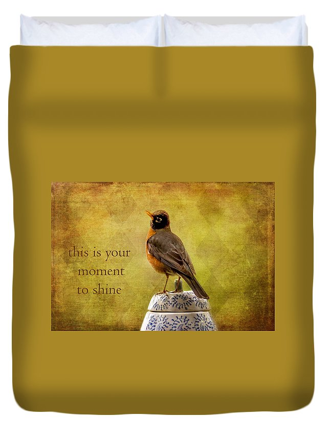 Robins Duvet Cover featuring the photograph Vintage Proud Robin by Peggy Collins