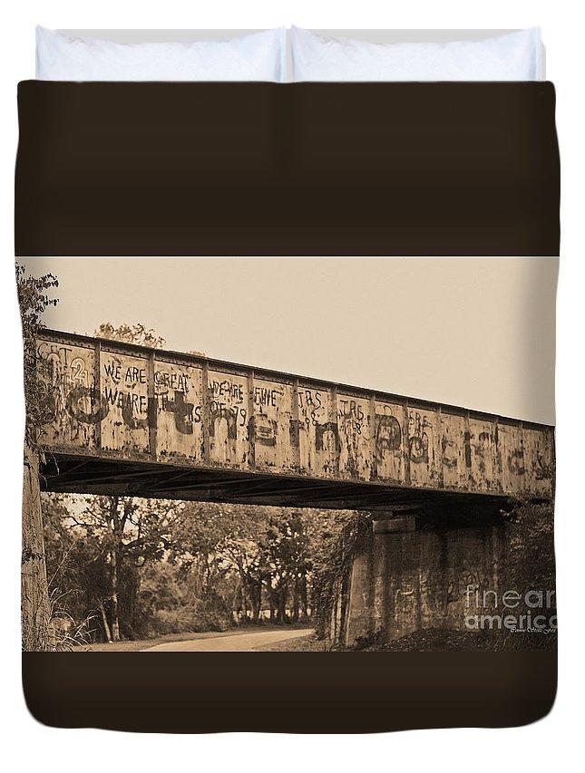 Railway Bridge Duvet Cover featuring the photograph Vintage Railway Bridge In Sepia by Connie Fox