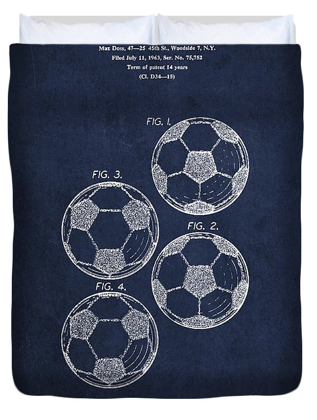 Soccer Duvet Cover featuring the digital art Vintage Soccer Ball Patent Drawing From 1964 by Aged Pixel