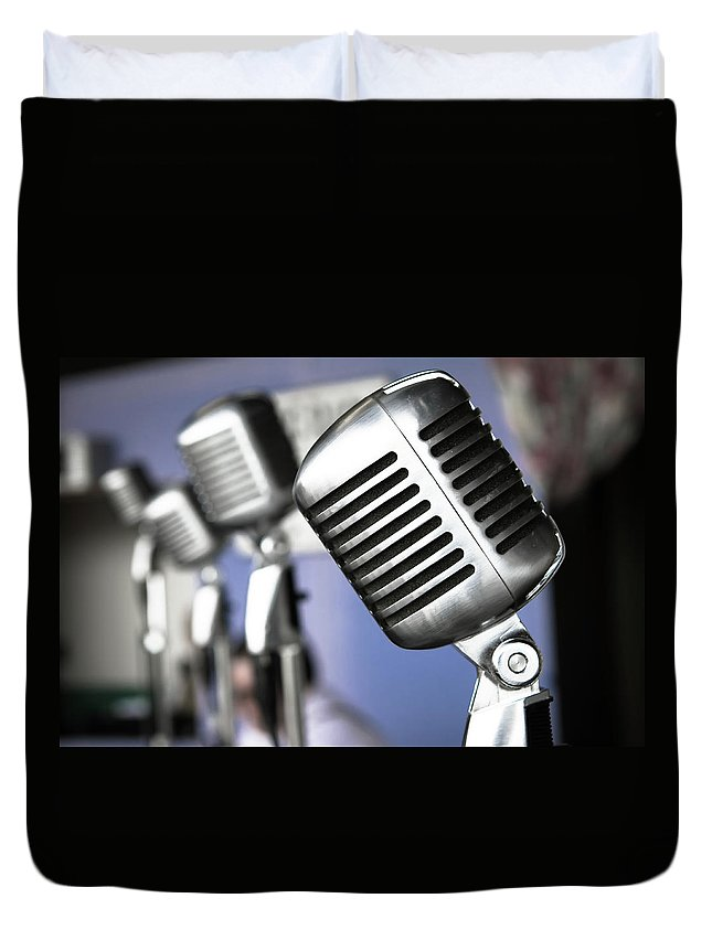 Music Duvet Cover featuring the photograph Vintage Standing Radio Microphones by Photo By Brian T. Evans