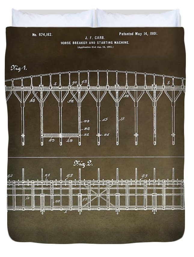 Horse Breaker Patent Duvet Cover featuring the mixed media Vintage Starting Gate Patent by Dan Sproul