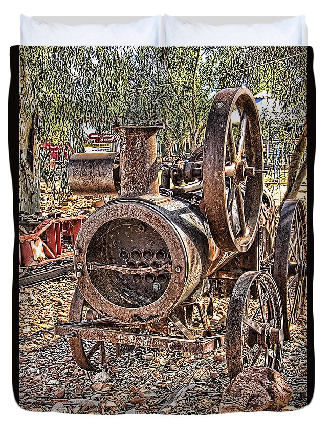 Vintage Duvet Cover featuring the photograph Vintage Steam Tractor by Douglas Barnard