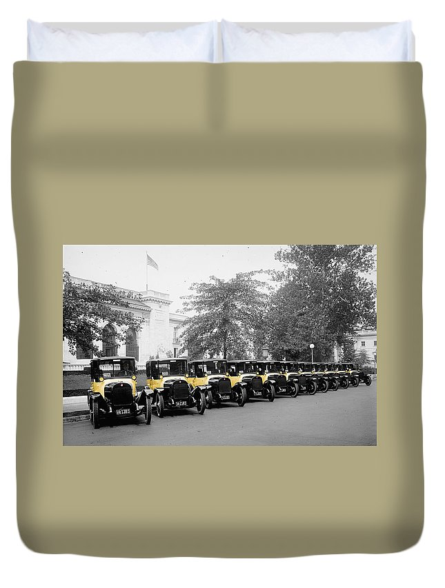 Taxis Duvet Cover featuring the photograph Vintage Taxis 3 by Andrew Fare