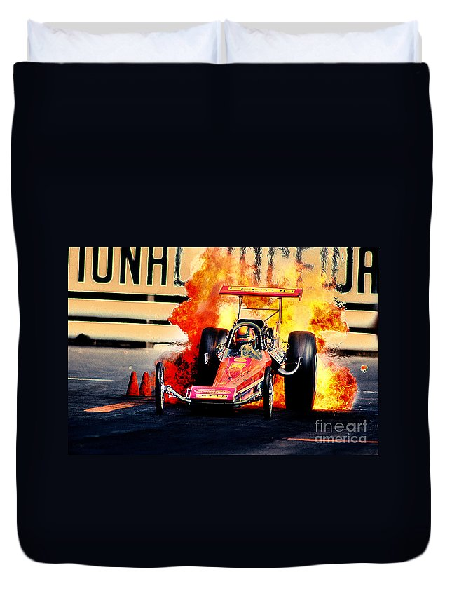 Fire Duvet Cover featuring the photograph Vintage Top Fuel Dragster Fire Burnout-wild Bill Carter by Howard Koby