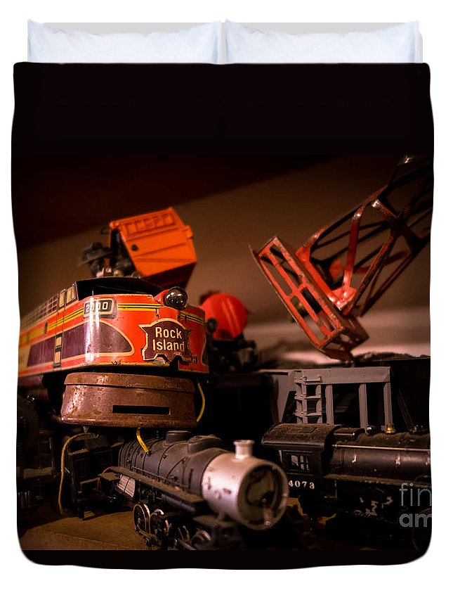Ho Scale Trains Duvet Cover featuring the photograph Vintage Toy Trains by Amy Cicconi