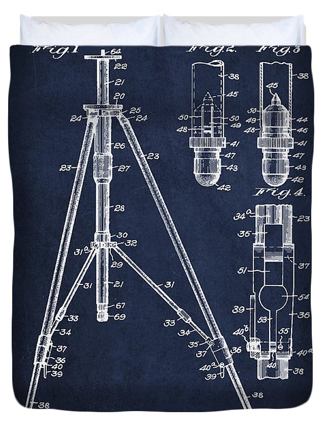 Tripod Duvet Cover featuring the digital art Vintage Tripod Patent Drawing From 1941 by Aged Pixel