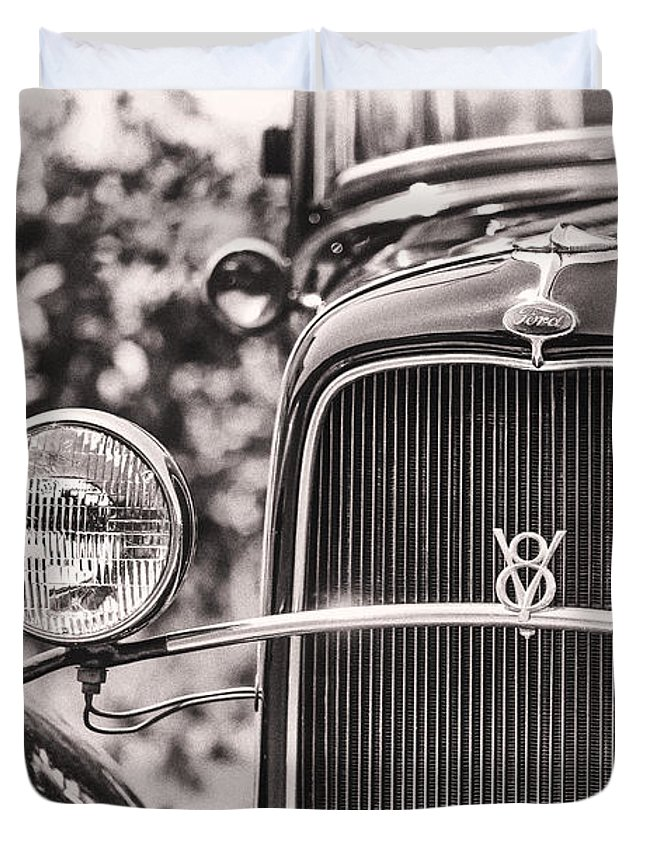 Ford Duvet Cover featuring the photograph Vintage V8 by Caitlyn Grasso
