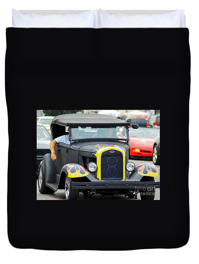Classic Cars Duvet Cover featuring the photograph Vintage V8 by Optical Playground By MP Ray