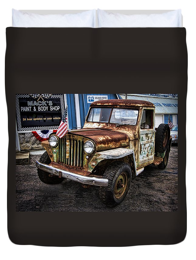 Willy's Duvet Cover featuring the photograph Vintage Willy's Jeep Pickup Truck by Kathy Clark