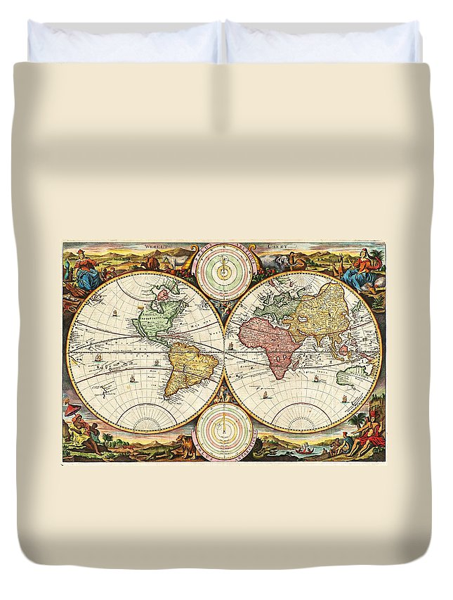 Vintage World Map Duvet Cover for Sale by Daniel Stoopendaal