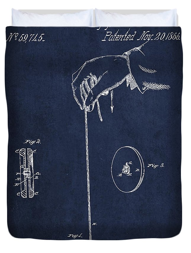 Yoyo Duvet Cover featuring the digital art Vintage Yoyo Patent Drawing From 1866 by Aged Pixel