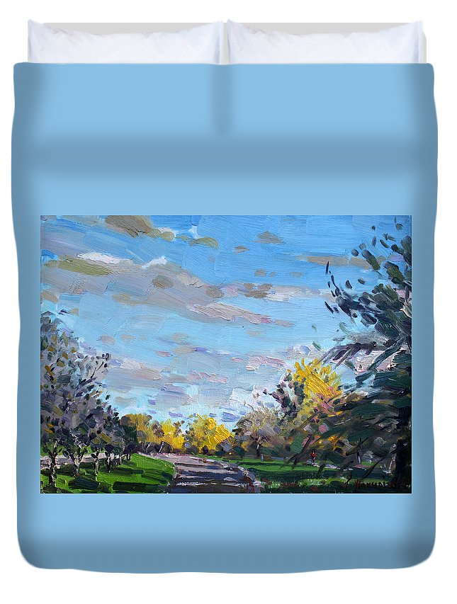 Fall Duvet Cover featuring the painting Viola Jogging by Ylli Haruni