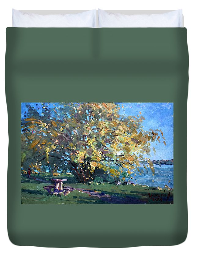 Fall Duvet Cover featuring the painting Viola Walking In The Park by Ylli Haruni