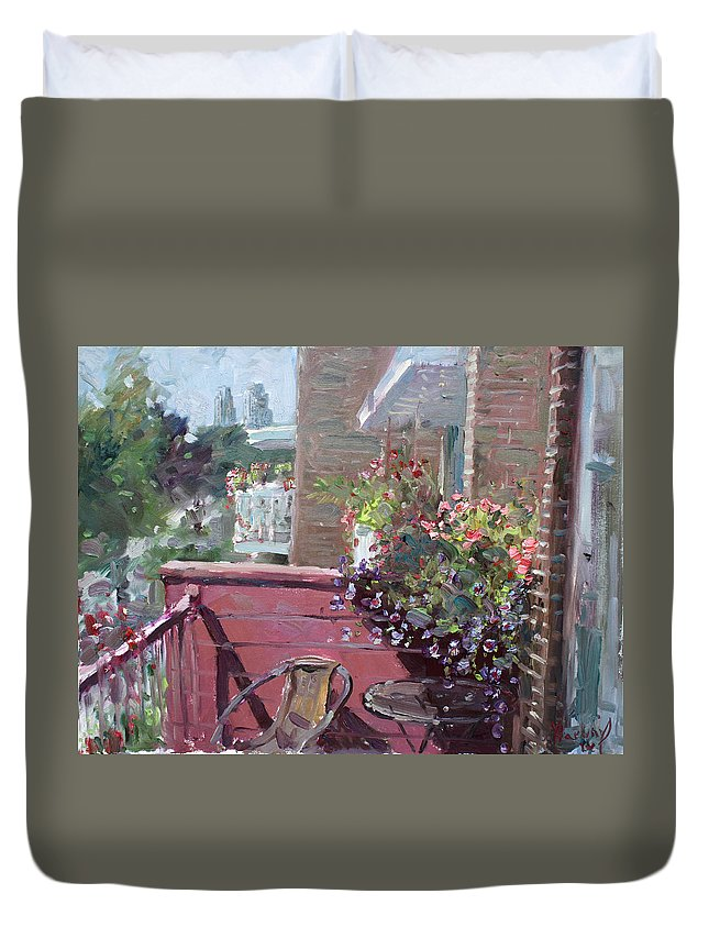 Flowers Duvet Cover featuring the painting Viola's Balcony by Ylli Haruni