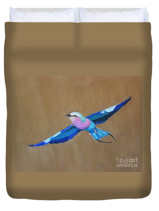 Colorful Bird Duvet Cover featuring the painting Violet-breasted Roller Bird II by Lynn Quinn