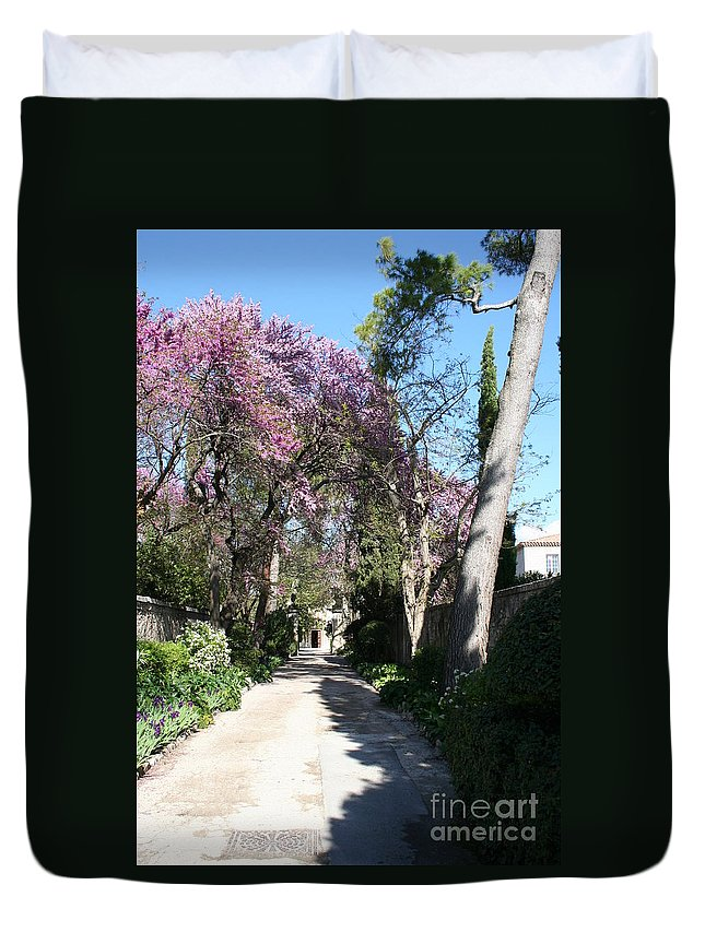 Alley Duvet Cover featuring the photograph Violet Tree Alley by Christiane Schulze Art And Photography