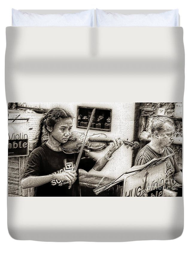 Violin Duvet Cover featuring the photograph Violin Ensemble by Ian Gledhill