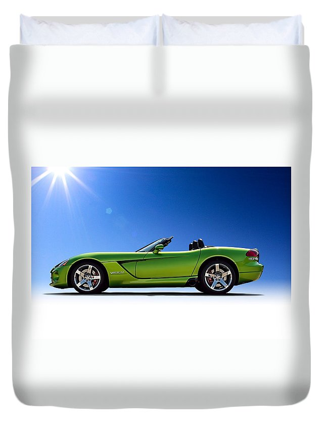Green Duvet Cover featuring the digital art Viper Roadster by Douglas Pittman