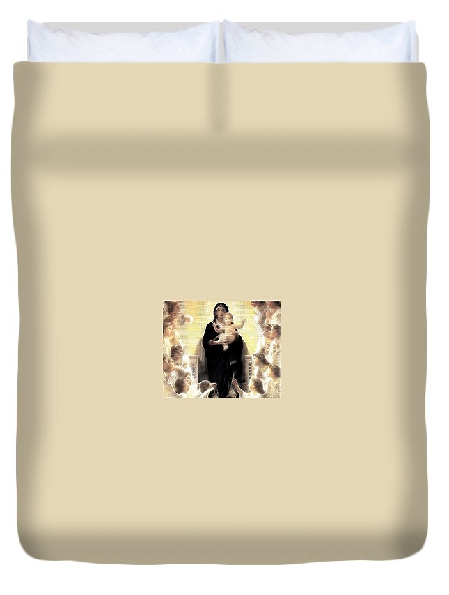 Virgin And Child Duvet Cover featuring the painting Virgin And Child Fractalius by Georgeta Blanaru