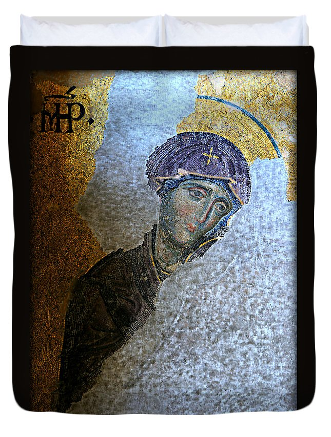Hagia Duvet Cover featuring the photograph Virgin Mary by Stephen Stookey